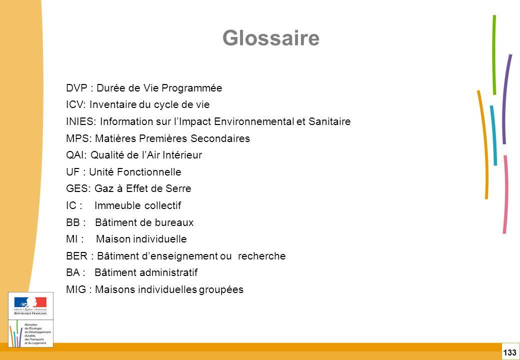 Glossaire 133 DVP : Durée de Vie Programmée ICV: Inventaire du cycle de vie INIES: Information sur lImpact Environnemental et Sanitaire MPS: Matières
