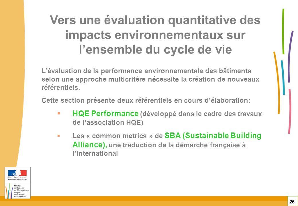 Vers une évaluation quantitative des impacts environnementaux sur lensemble du cycle de vie 26 Lévaluation de la performance environnementale des bâti