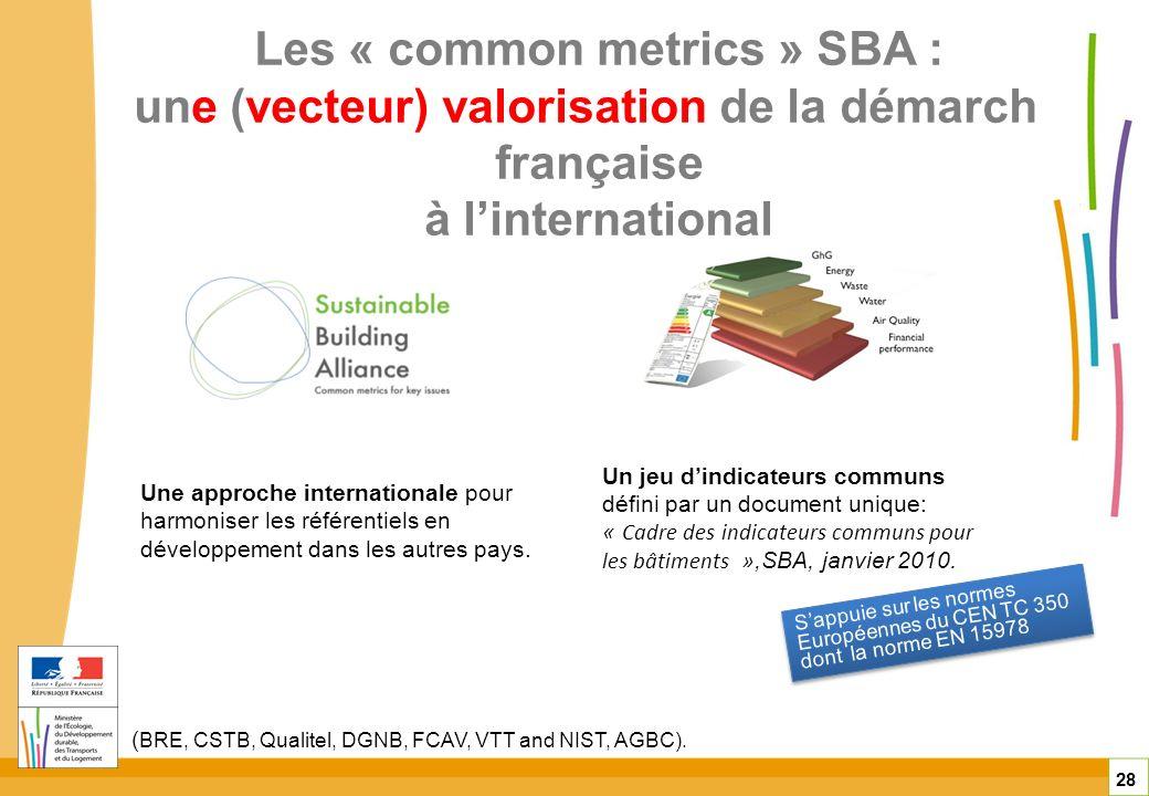 Les « common metrics » SBA : une (vecteur) valorisation de la démarche française à linternational 28 Une approche internationale pour harmoniser les r
