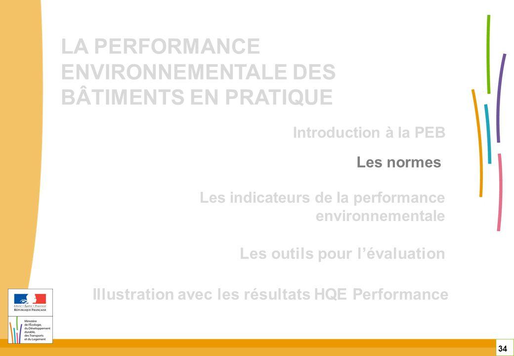 LA PERFORMANCE ENVIRONNEMENTALE DES BÂTIMENTS EN PRATIQUE Les outils pour lévaluation Illustration avec les résultats HQE Performance 34 Les normes Le