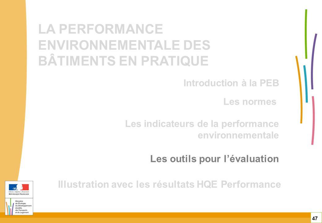 LA PERFORMANCE ENVIRONNEMENTALE DES BÂTIMENTS EN PRATIQUE Les outils pour lévaluation Illustration avec les résultats HQE Performance 47 Les normes Le