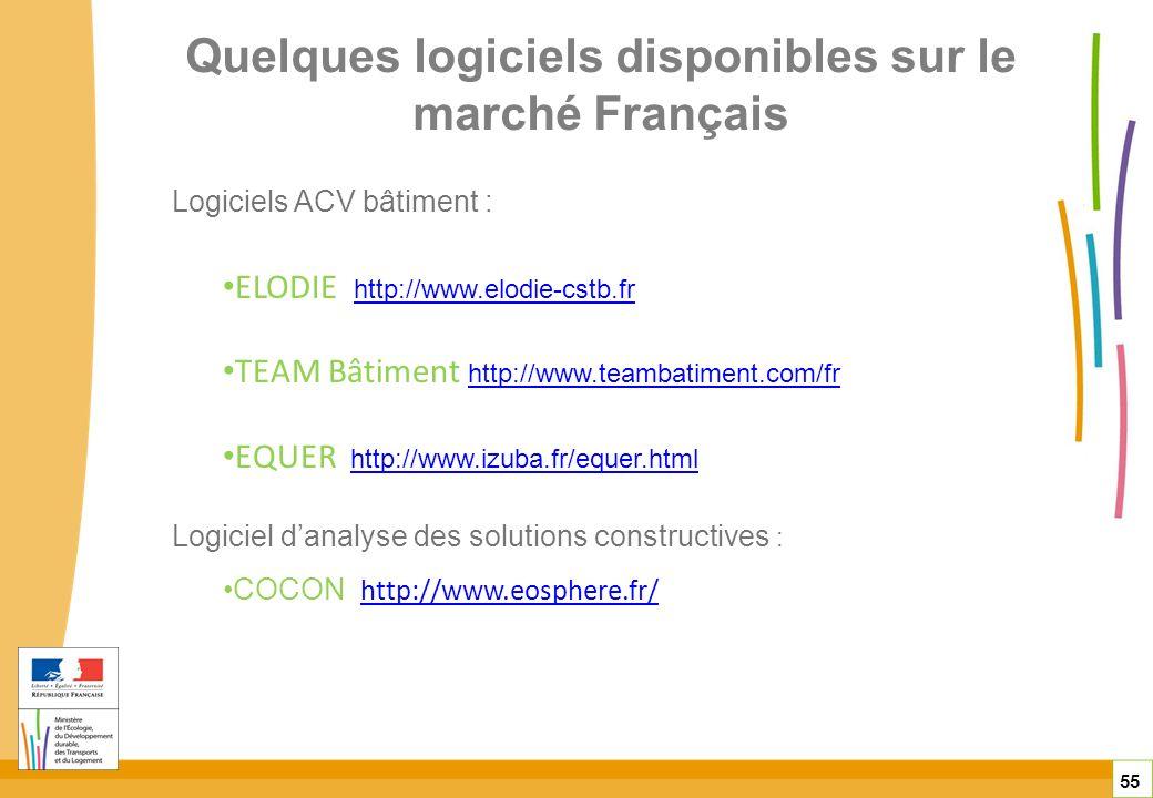Quelques logiciels disponibles sur le marché Français 55 Logiciels ACV bâtiment : ELODIE http://www.elodie-cstb.frhttp://www.elodie-cstb.fr TEAM Bâtim