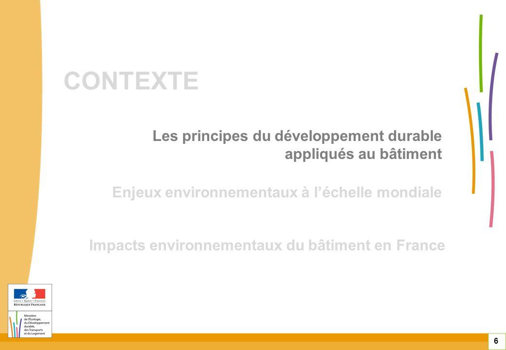 CONTEXTE 6 Enjeux environnementaux à léchelle mondiale Impacts environnementaux du bâtiment en France Les principes du développement durable appliqués