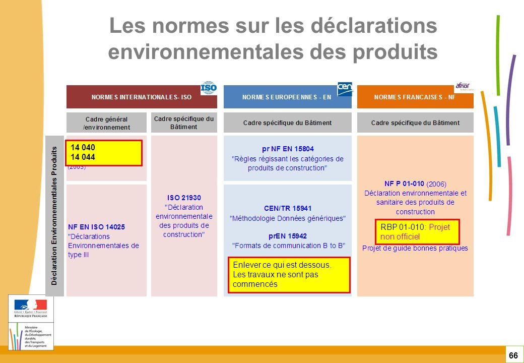 Les normes sur les déclarations environnementales des produits 66 Enlever ce qui est dessous. Les travaux ne sont pas commencés 14 040 14 044 RBP 01-0