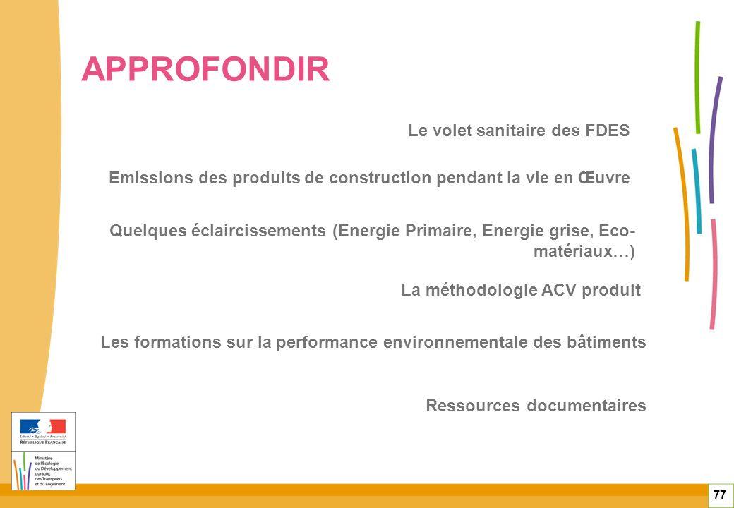 77 Quelques éclaircissements (Energie Primaire, Energie grise, Eco- matériaux…) Emissions des produits de construction pendant la vie en Œuvre La méth
