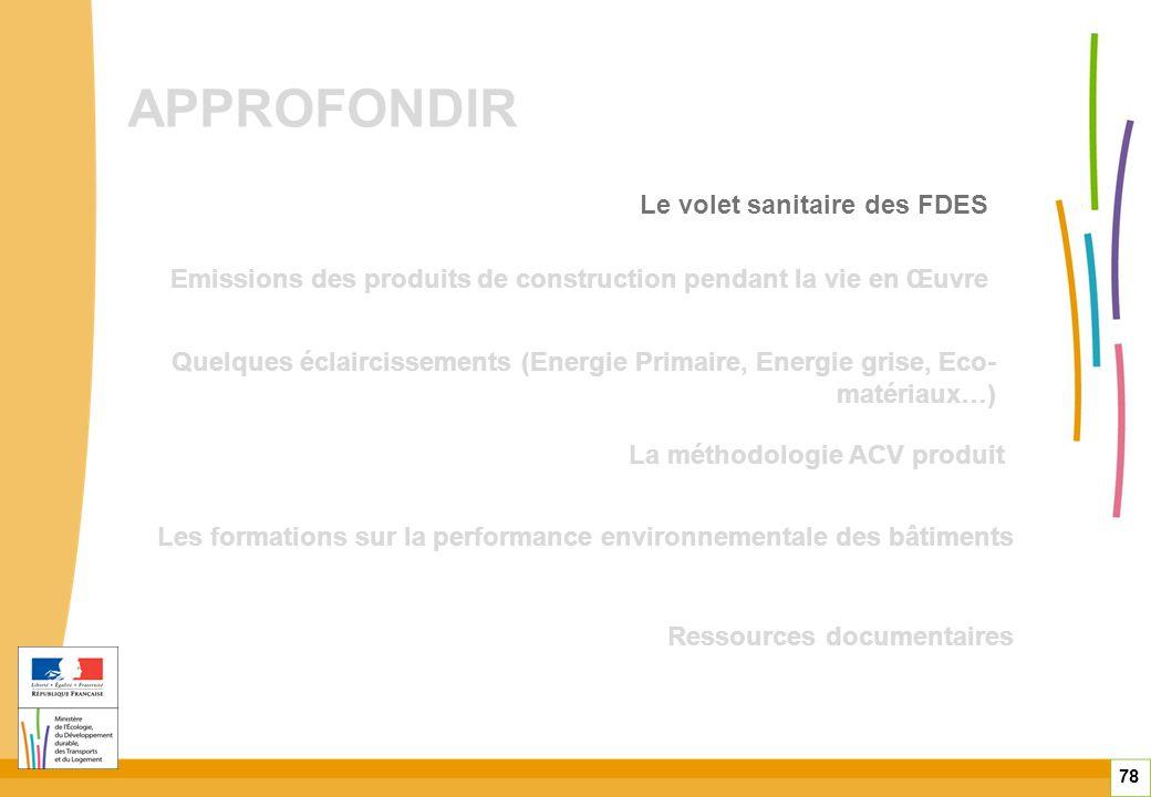 APPROFONDIR 78 Quelques éclaircissements (Energie Primaire, Energie grise, Eco- matériaux…) Emissions des produits de construction pendant la vie en Œ