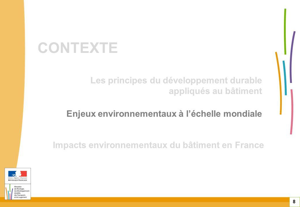 CONTEXTE 8 Enjeux environnementaux à léchelle mondiale Impacts environnementaux du bâtiment en France Les principes du développement durable appliqués