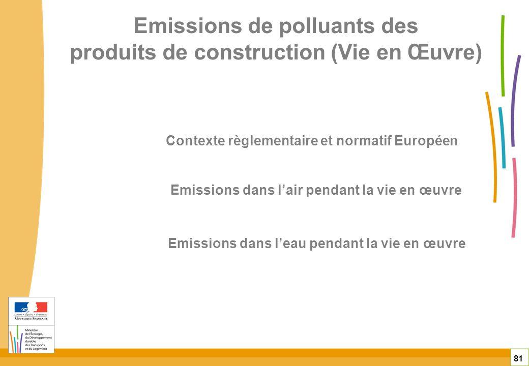 Emissions de polluants des produits de construction (Vie en Œuvre) 81 Emissions dans lair pendant la vie en œuvre Emissions dans leau pendant la vie e