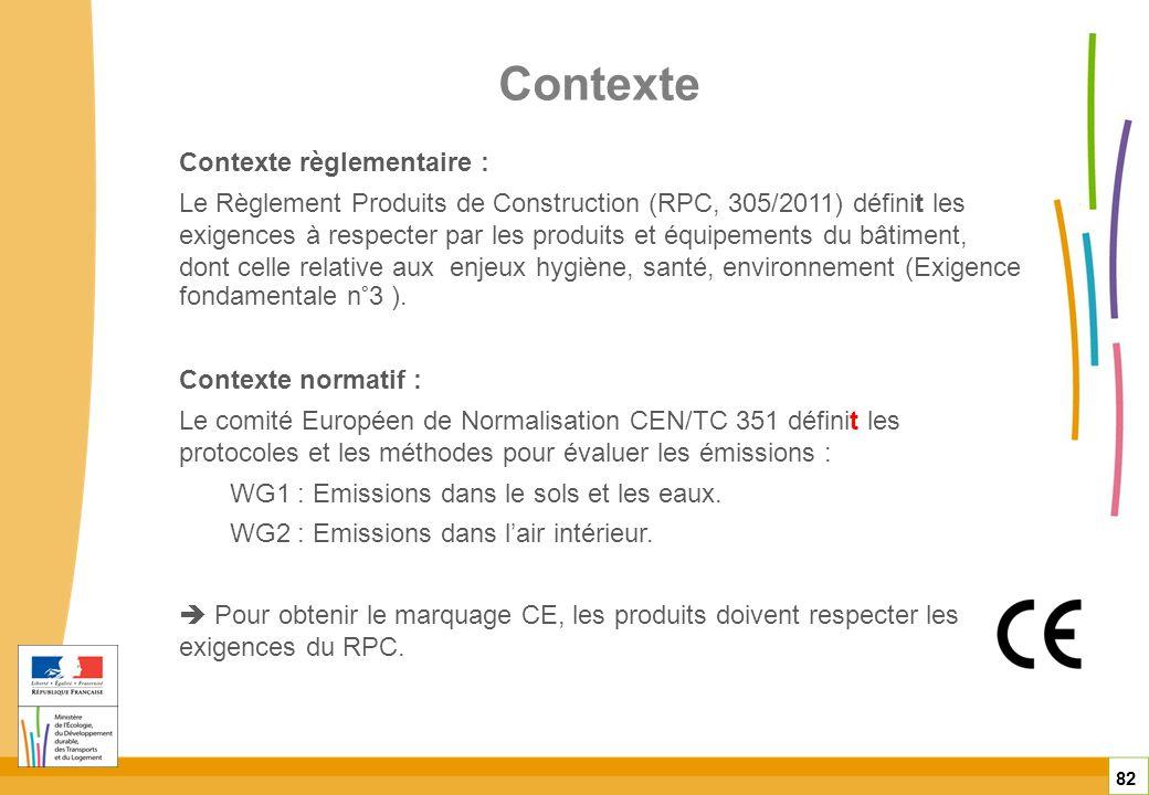 Contexte 82 Contexte règlementaire : Le Règlement Produits de Construction (RPC, 305/2011) définit les exigences à respecter par les produits et équip