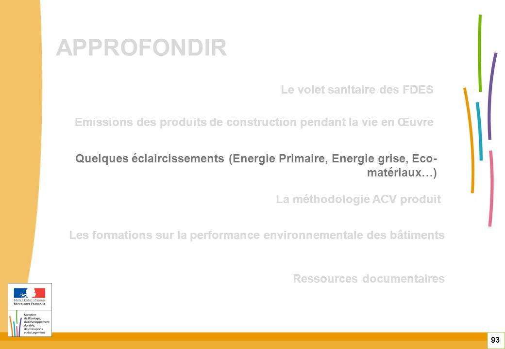 APPROFONDIR 93 Quelques éclaircissements (Energie Primaire, Energie grise, Eco- matériaux…) Emissions des produits de construction pendant la vie en Œ