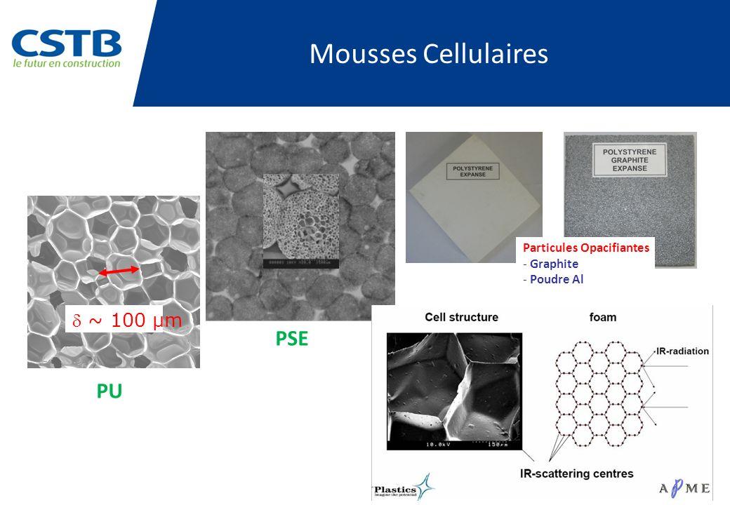 ~ 100 µm Mousses Cellulaires Particules Opacifiantes - Graphite - Poudre Al PU PSE