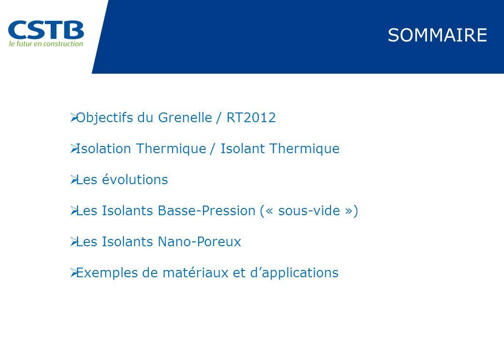 SOMMAIRE Objectifs du Grenelle / RT2012 Isolation Thermique / Isolant Thermique Les évolutions Les Isolants Basse-Pression (« sous-vide ») Les Isolant