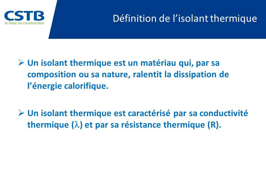 Définition de lisolant thermique Un isolant thermique est un matériau qui, par sa composition ou sa nature, ralentit la dissipation de lénergie calori