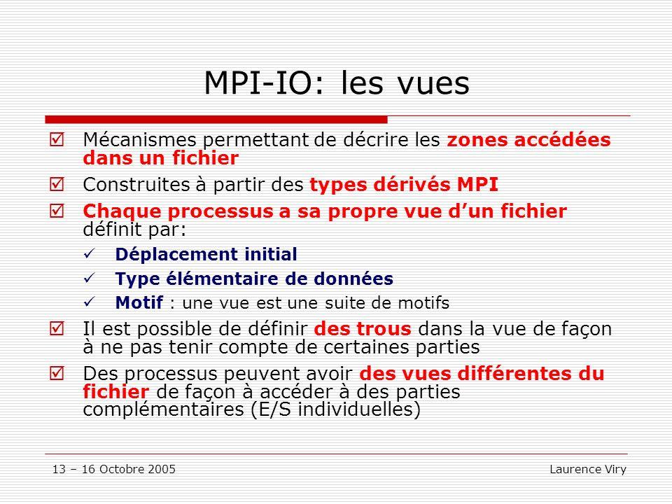 13 – 16 Octobre 2005 Laurence Viry MPI-IO: les vues Mécanismes permettant de décrire les zones accédées dans un fichier Construites à partir des types dérivés MPI Chaque processus a sa propre vue dun fichier définit par: Déplacement initial Type élémentaire de données Motif : une vue est une suite de motifs Il est possible de définir des trous dans la vue de façon à ne pas tenir compte de certaines parties Des processus peuvent avoir des vues différentes du fichier de façon à accéder à des parties complémentaires (E/S individuelles)