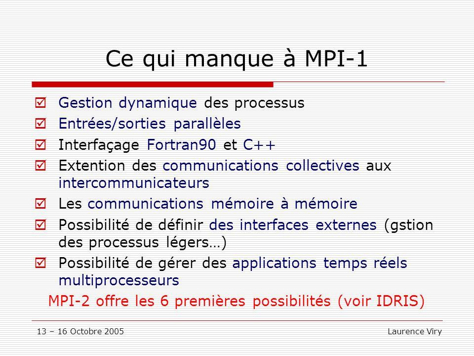 13 – 16 Octobre 2005 Laurence Viry Ce qui manque à MPI-1 Gestion dynamique des processus Entrées/sorties parallèles Interfaçage Fortran90 et C++ Extention des communications collectives aux intercommunicateurs Les communications mémoire à mémoire Possibilité de définir des interfaces externes (gstion des processus légers…) Possibilité de gérer des applications temps réels multiprocesseurs MPI-2 offre les 6 premières possibilités (voir IDRIS)