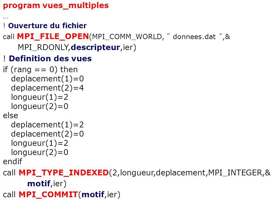 program vues_multiples … ! Ouverture du fichier call MPI_FILE_OPEN (MPI_COMM_WORLD, ˝ donnees.dat ˝,& MPI_RDONLY,descripteur,ier) ! Definition des vue