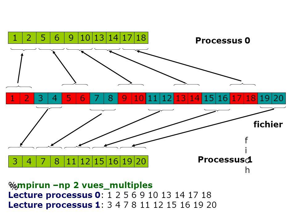625 12 91013141718 141311 1 15161718192012345678910 8471112151619203 fichfich fichier Processus 0 Processus 1 % %mpirun –np 2 vues_multiples Lecture processus 0: 1 2 5 6 9 10 13 14 17 18 Lecture processus 1: 3 4 7 8 11 12 15 16 19 20