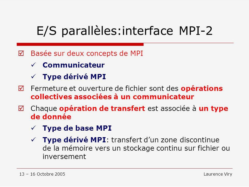 13 – 16 Octobre 2005 Laurence Viry E/S parallèles:interface MPI-2 Basée sur deux concepts de MPI Communicateur Type dérivé MPI Fermeture et ouverture de fichier sont des opérations collectives associées à un communicateur Chaque opération de transfert est associée à un type de donnée Type de base MPI Type dérivé MPI: transfert dun zone discontinue de la mémoire vers un stockage continu sur fichier ou inversement