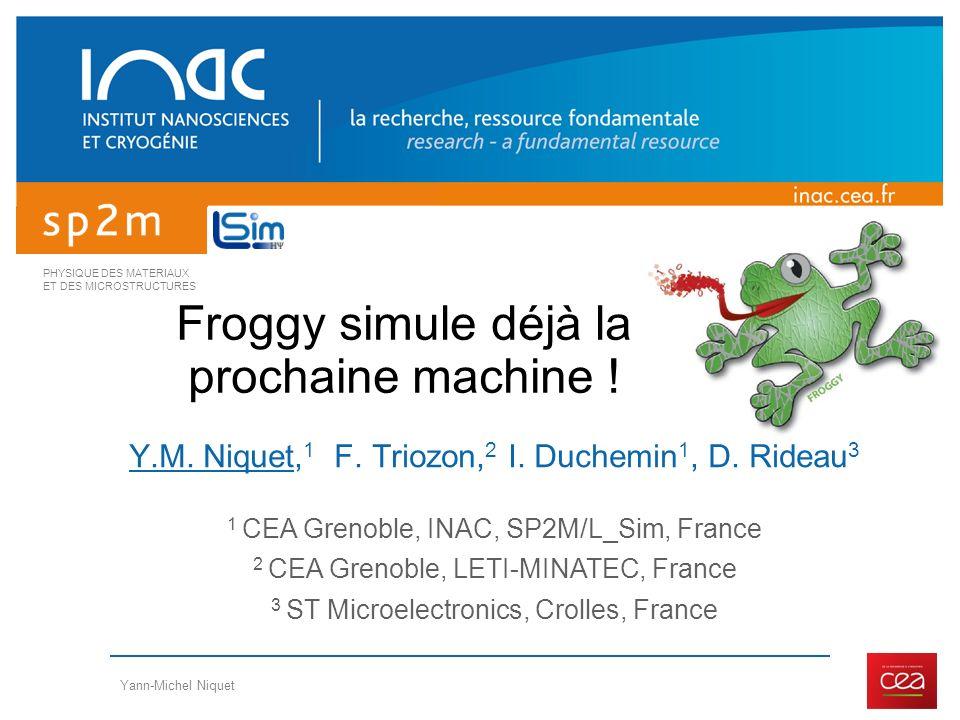 PHYSIQUE DES MATERIAUX ET DES MICROSTRUCTURES Yann-Michel Niquet Froggy simule déjà la prochaine machine ! Y.M. Niquet, 1 F. Triozon, 2 I. Duchemin 1,