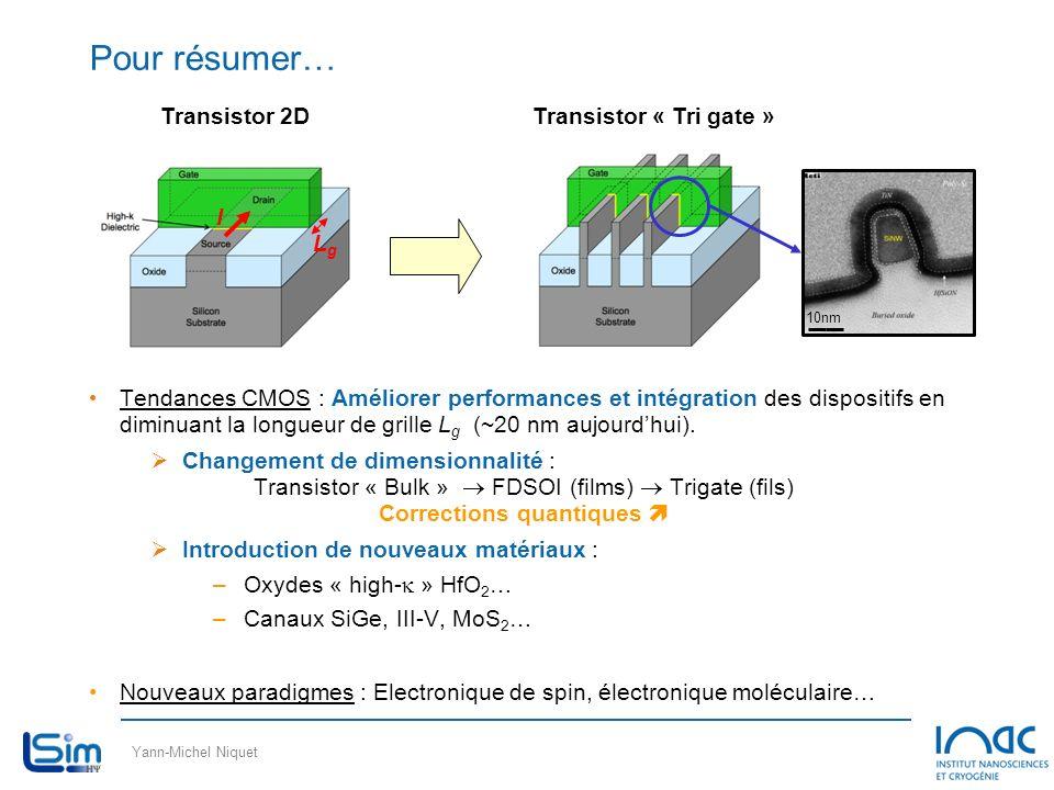 Yann-Michel Niquet Pour résumer… Tendances CMOS : Améliorer performances et intégration des dispositifs en diminuant la longueur de grille L g (~20 nm