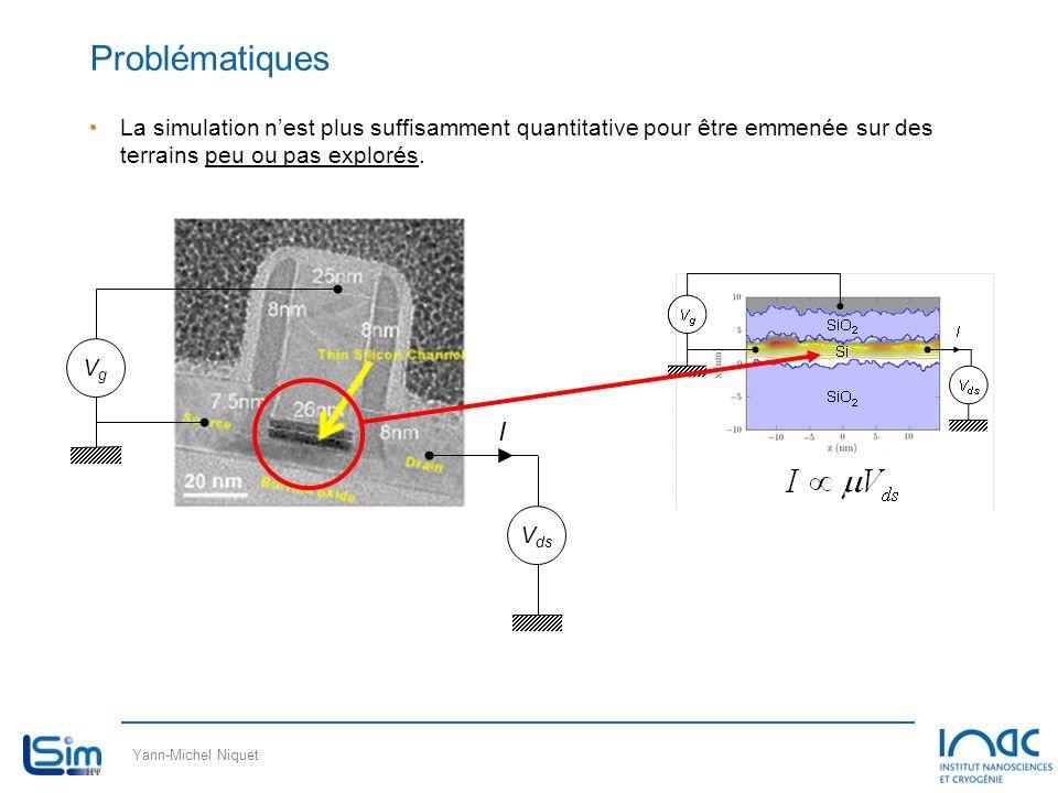 Yann-Michel Niquet Problématiques La simulation nest plus suffisamment quantitative pour être emmenée sur des terrains peu ou pas explorés. VgVg V ds