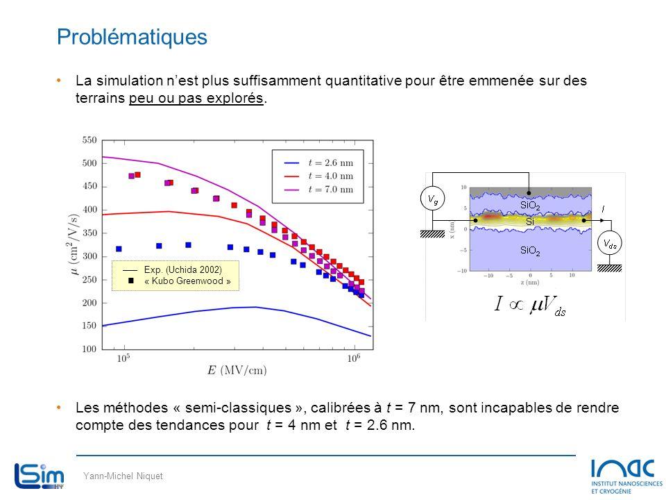 Yann-Michel Niquet Problématiques La simulation nest plus suffisamment quantitative pour être emmenée sur des terrains peu ou pas explorés. Les méthod