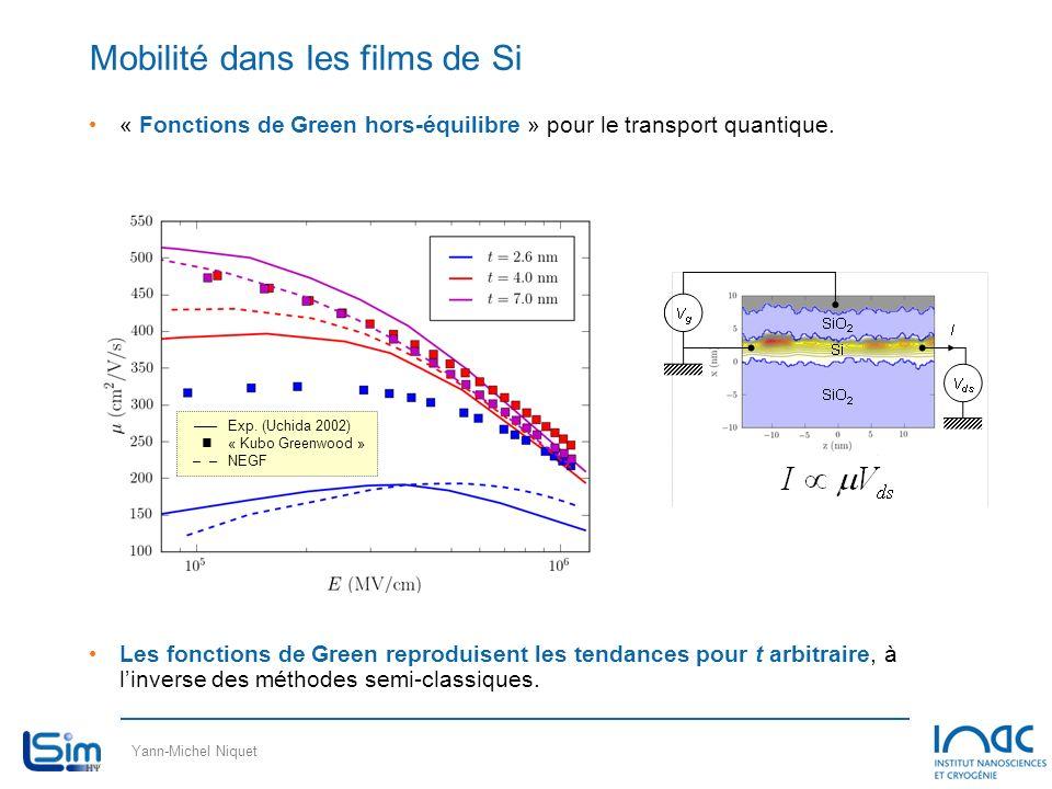 Yann-Michel Niquet « Fonctions de Green hors-équilibre » pour le transport quantique. Les fonctions de Green reproduisent les tendances pour t arbitra