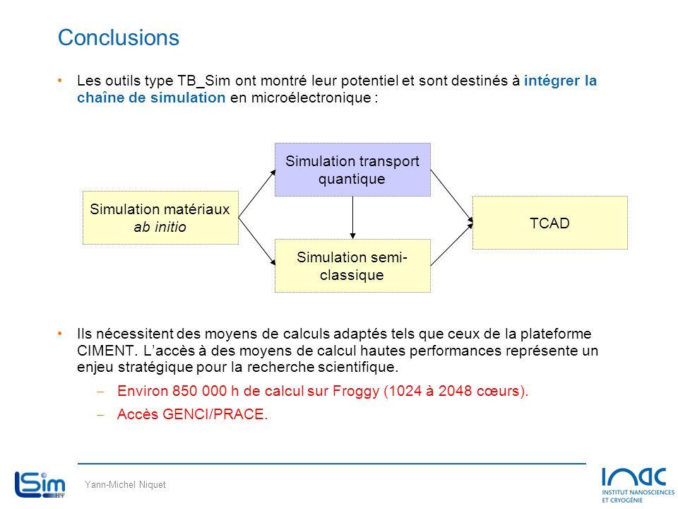 Yann-Michel Niquet Conclusions Les outils type TB_Sim ont montré leur potentiel et sont destinés à intégrer la chaîne de simulation en microélectroniq