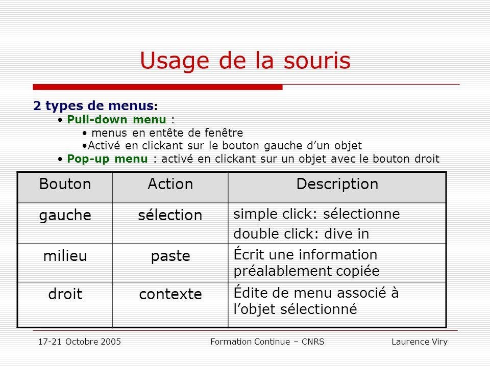 17-21 Octobre 2005 Formation Continue – CNRS Laurence Viry Usage de la souris BoutonActionDescription gauchesélection simple click: sélectionne double