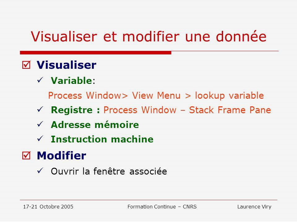 17-21 Octobre 2005 Formation Continue – CNRS Laurence Viry Visualiser et modifier une donnée Visualiser Variable: Process Window> View Menu > lookup v