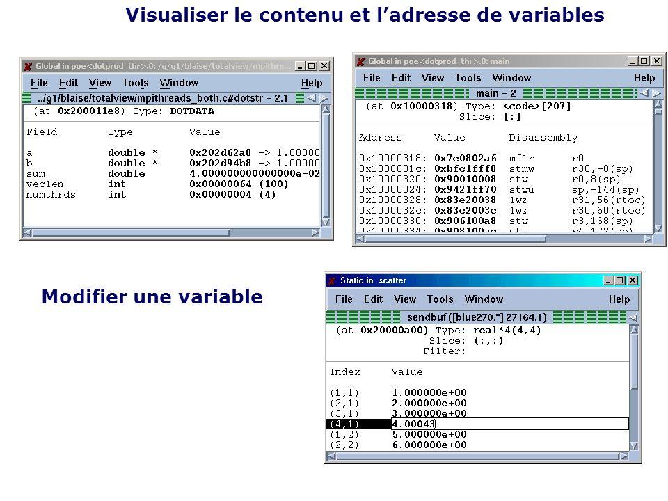 Visualiser le contenu et ladresse de variables Modifier une variable
