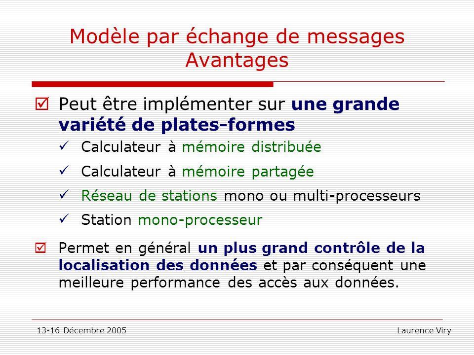 13-16 Décembre 2005 Laurence Viry Modèle par échange de messages Avantages Peut être implémenter sur une grande variété de plates-formes Calculateur à