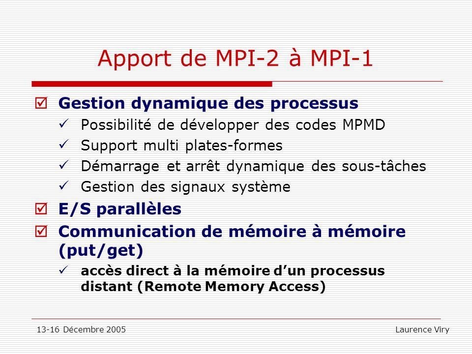 13-16 Décembre 2005 Laurence Viry Apport de MPI-2 à MPI-1 Gestion dynamique des processus Possibilité de développer des codes MPMD Support multi plate
