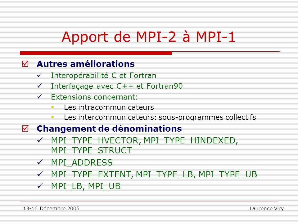 13-16 Décembre 2005 Laurence Viry Apport de MPI-2 à MPI-1 Autres améliorations Interopérabilité C et Fortran Interfaçage avec C++ et Fortran90 Extensi