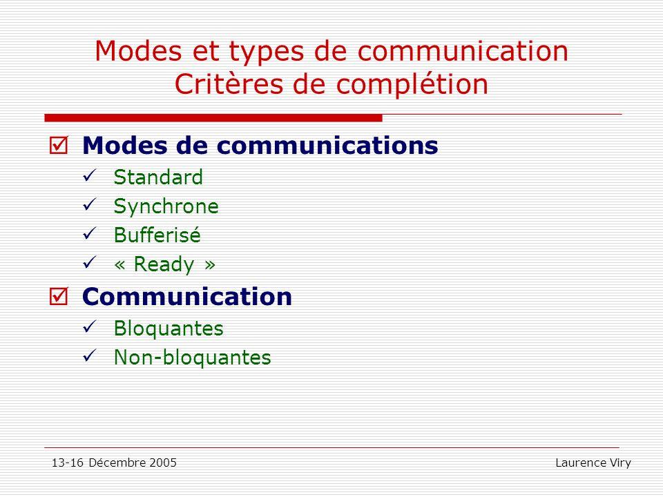 13-16 Décembre 2005 Laurence Viry Modes et types de communication Critères de complétion Modes de communications Standard Synchrone Bufferisé « Ready
