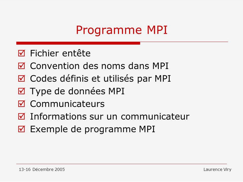 13-16 Décembre 2005 Laurence Viry Programme MPI Fichier entête Convention des noms dans MPI Codes définis et utilisés par MPI Type de données MPI Comm