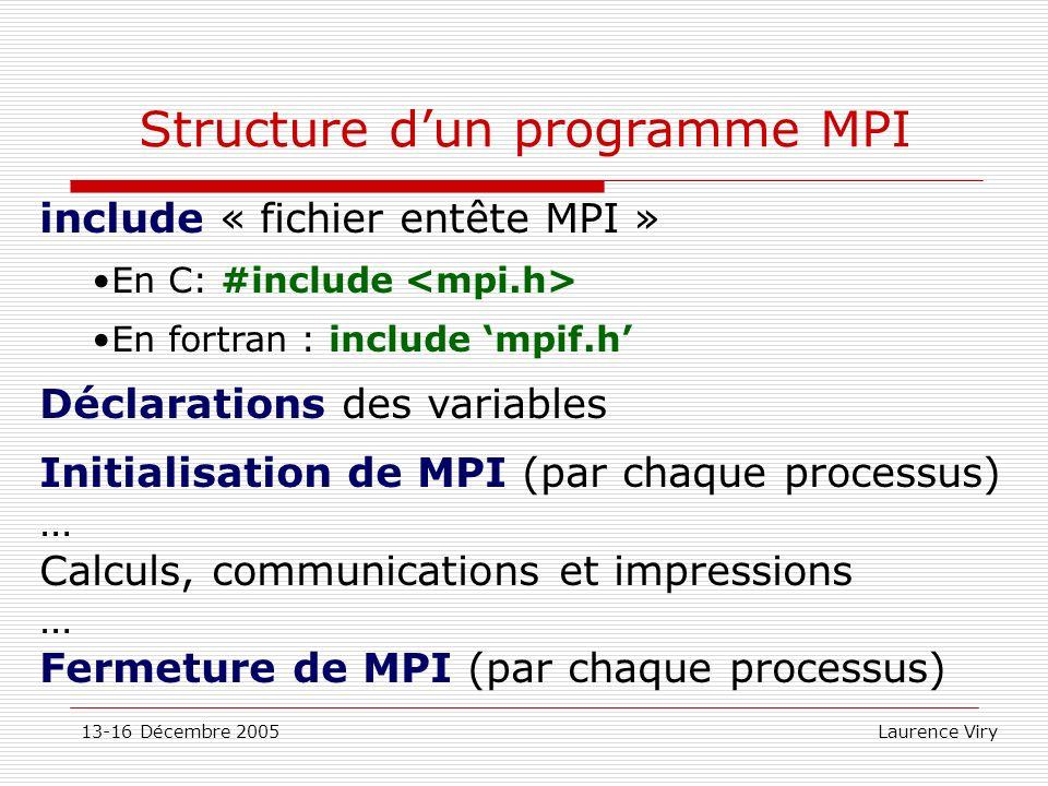 13-16 Décembre 2005 Laurence Viry Structure dun programme MPI include « fichier entête MPI » En C: #include En fortran : include mpif.h Déclarations d