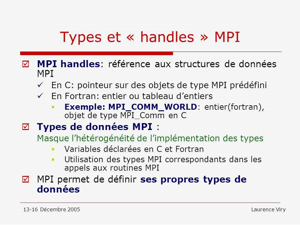13-16 Décembre 2005 Laurence Viry Types et « handles » MPI MPI handles: référence aux structures de données MPI En C: pointeur sur des objets de type