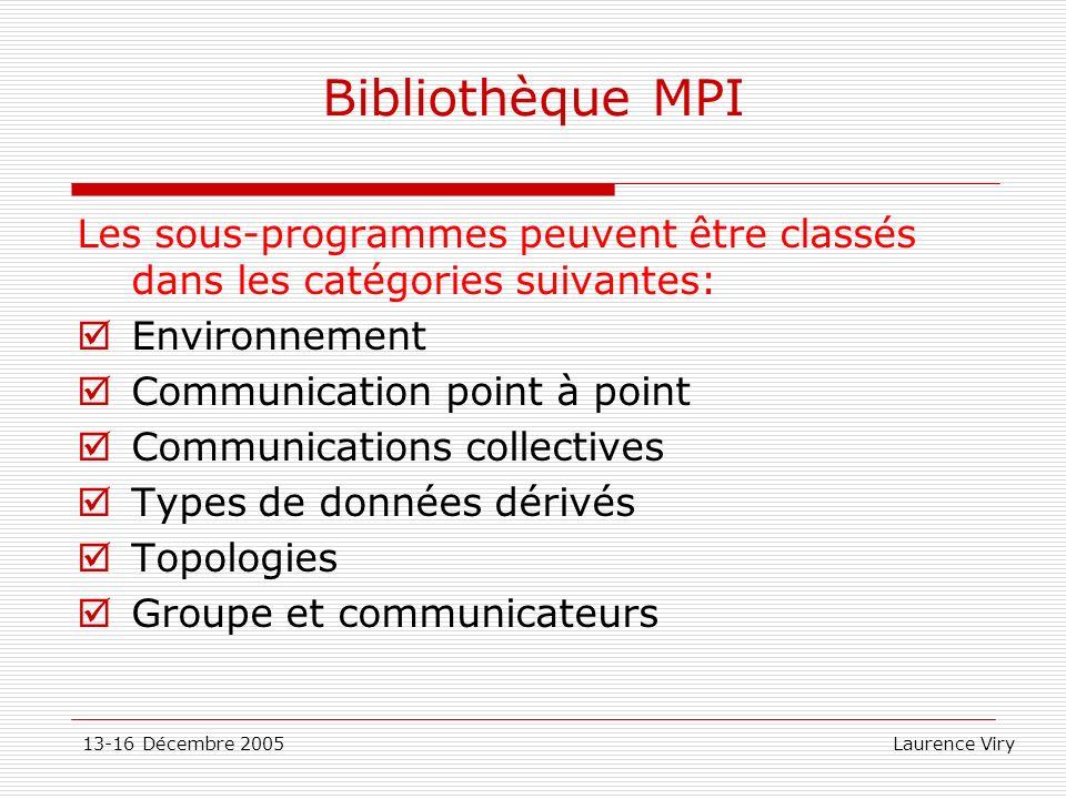 13-16 Décembre 2005 Laurence Viry Bibliothèque MPI Les sous-programmes peuvent être classés dans les catégories suivantes: Environnement Communication