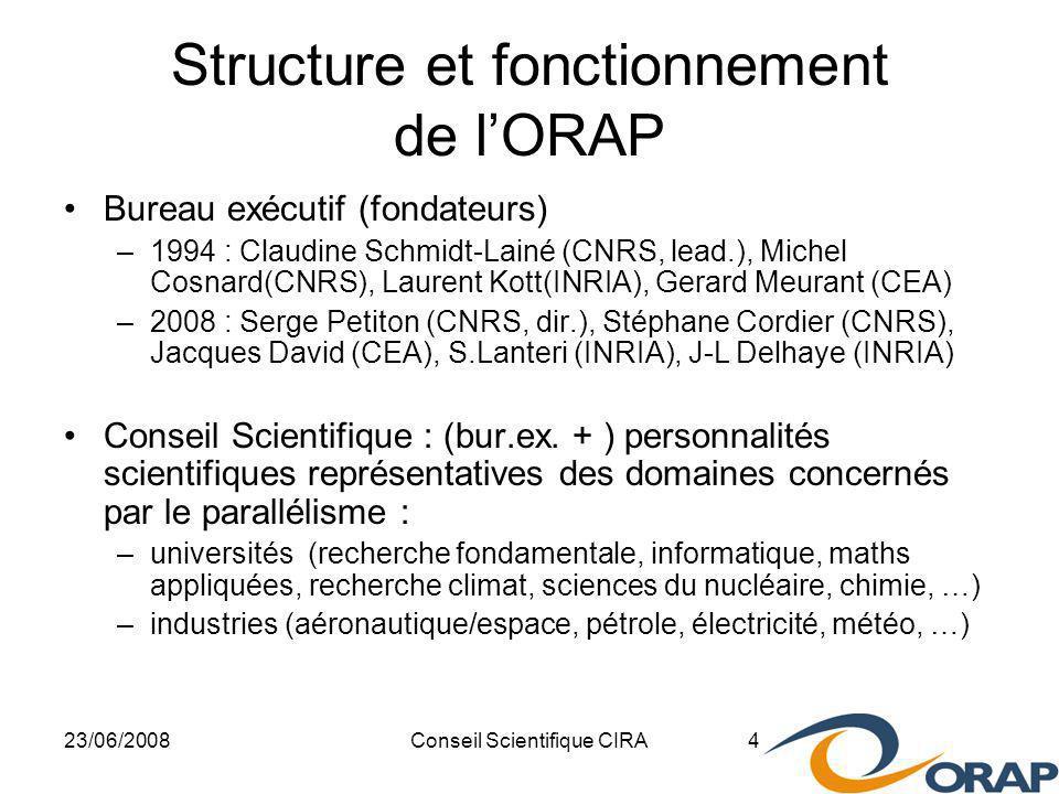 23/06/2008Conseil Scientifique CIRA 4 Structure et fonctionnement de lORAP Bureau exécutif (fondateurs) –1994 : Claudine Schmidt-Lainé (CNRS, lead.), Michel Cosnard(CNRS), Laurent Kott(INRIA), Gerard Meurant (CEA) –2008 : Serge Petiton (CNRS, dir.), Stéphane Cordier (CNRS), Jacques David (CEA), S.Lanteri (INRIA), J-L Delhaye (INRIA) Conseil Scientifique : (bur.ex.