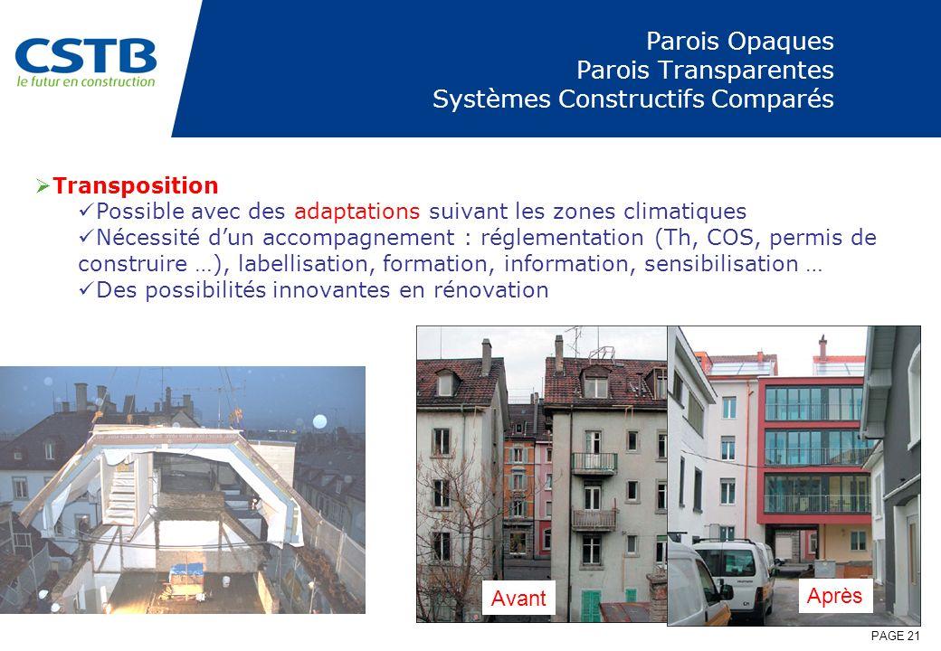 PAGE 21 Parois Opaques Parois Transparentes Systèmes Constructifs Comparés Transposition Possible avec des adaptations suivant les zones climatiques N