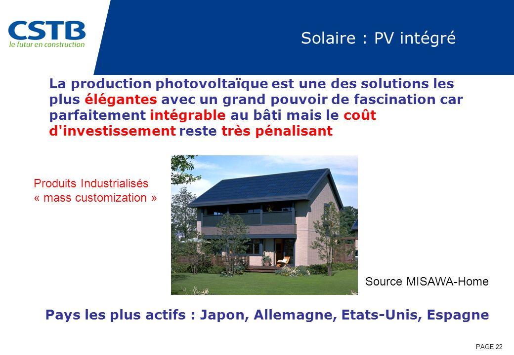 PAGE 22 Solaire : PV intégré La production photovoltaïque est une des solutions les plus élégantes avec un grand pouvoir de fascination car parfaiteme