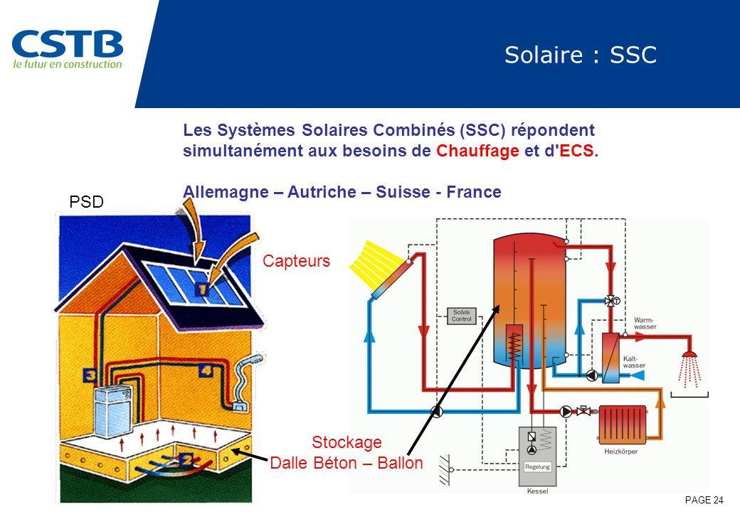 PAGE 24 Solaire : SSC Capteurs Stockage Dalle Béton – Ballon PSD Les Systèmes Solaires Combinés (SSC) répondent simultanément aux besoins de Chauffage