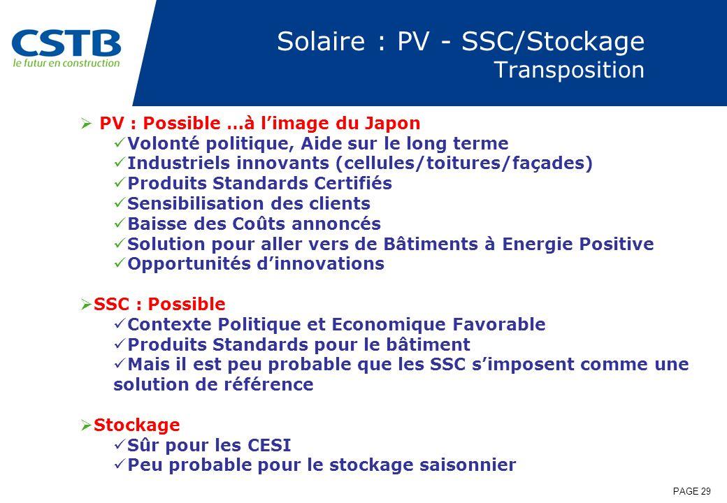 PAGE 29 Solaire : PV - SSC/Stockage Transposition PV : Possible …à limage du Japon Volonté politique, Aide sur le long terme Industriels innovants (ce