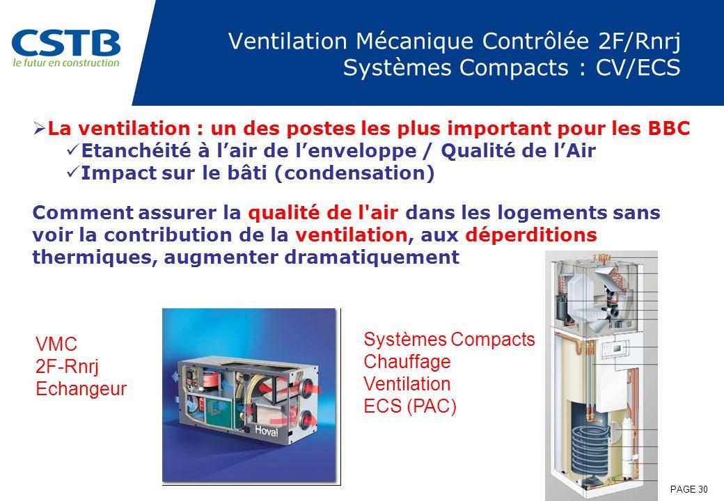 PAGE 30 Ventilation Mécanique Contrôlée 2F/Rnrj Systèmes Compacts : CV/ECS La ventilation : un des postes les plus important pour les BBC Etanchéité à