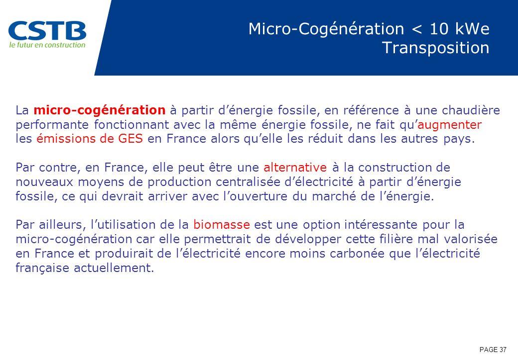 PAGE 37 Micro-Cogénération < 10 kWe Transposition La micro-cogénération à partir dénergie fossile, en référence à une chaudière performante fonctionna