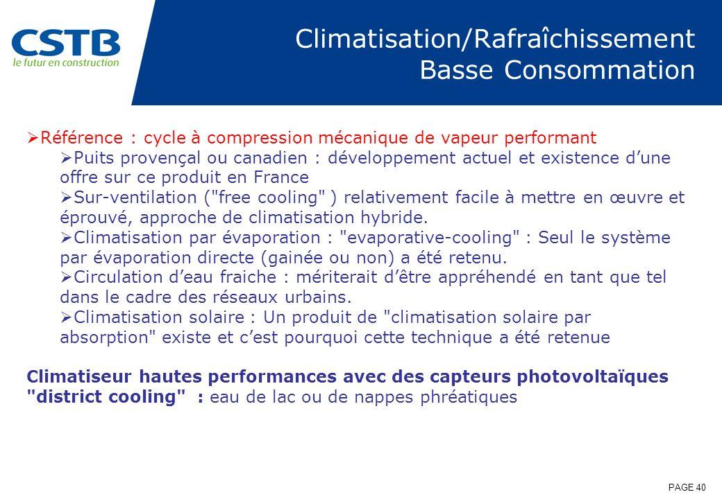 PAGE 40 Climatisation/Rafraîchissement Basse Consommation Référence : cycle à compression mécanique de vapeur performant Puits provençal ou canadien :