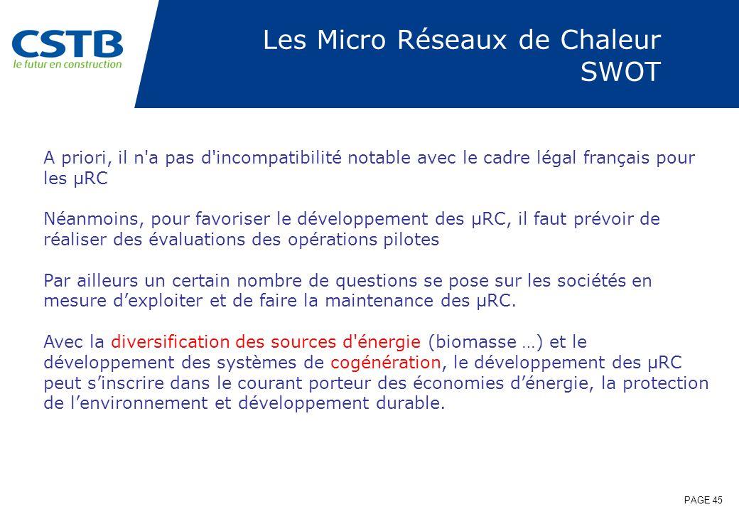 PAGE 45 Les Micro Réseaux de Chaleur SWOT A priori, il n'a pas d'incompatibilité notable avec le cadre légal français pour les µRC Néanmoins, pour fav