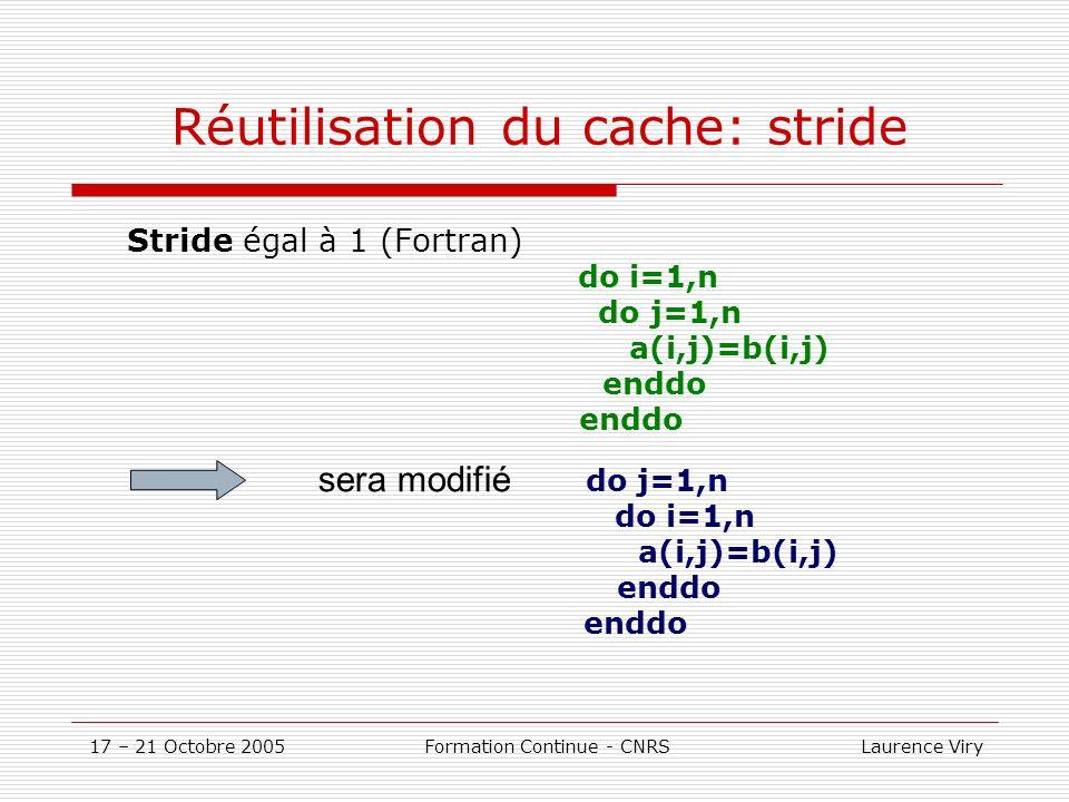 17 – 21 Octobre 2005 Formation Continue - CNRS Laurence Viry Réutilisation du cache: stride Stride égal à 1 (Fortran) do i=1,n do j=1,n a(i,j)=b(i,j) enddo do j=1,n do i=1,n a(i,j)=b(i,j) enddo sera modifié
