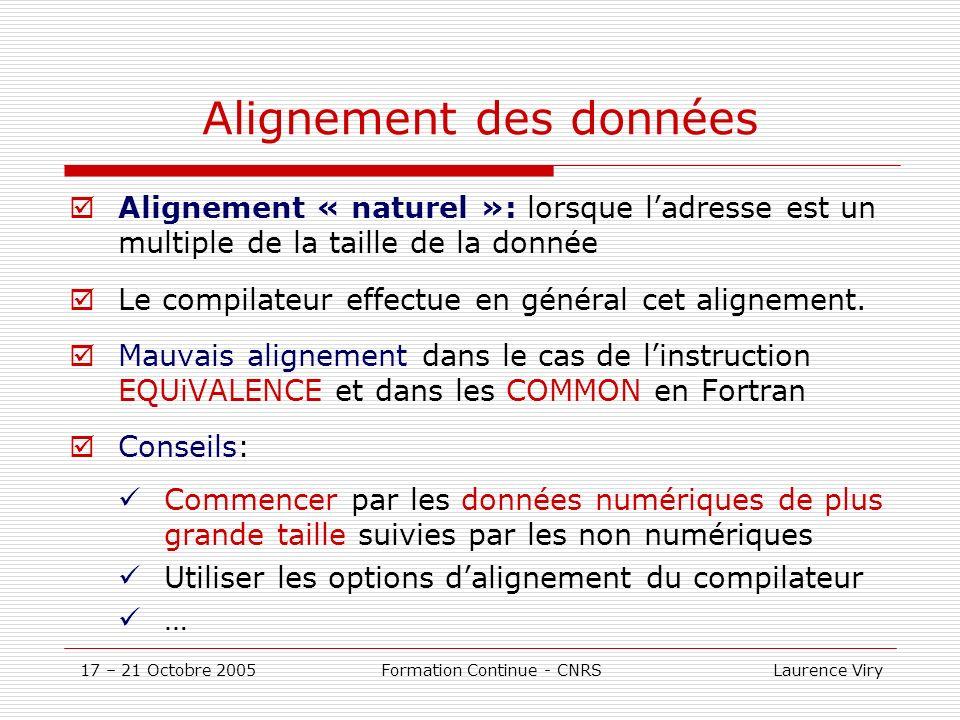 17 – 21 Octobre 2005 Formation Continue - CNRS Laurence Viry Alignement des données Alignement « naturel »: lorsque ladresse est un multiple de la taille de la donnée Le compilateur effectue en général cet alignement.